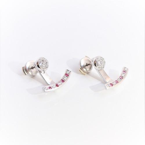 boucles oreilles or blanc saphir rose diamant