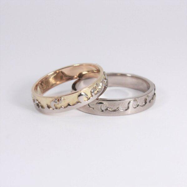 Alliance motif vague en or sur mesure Fabrication artisanale dans le vieux lyon