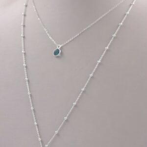 collier habillé double rangs en argent avec médaillon et topaze Fabrication artisanale dans le vieux Lyon