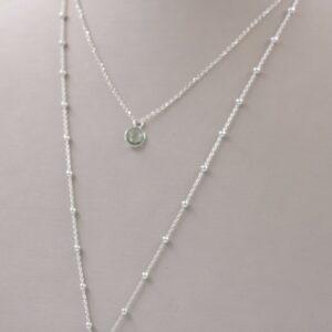 collier habillé double rangs en argent avec médaillon et calcédoine Fabrication artisanale dans le vieux Lyon