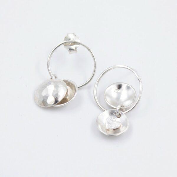 Boucles d'oreilles pendantes boite à coeur en argent Fabrication artisanale dans le vieux lyon