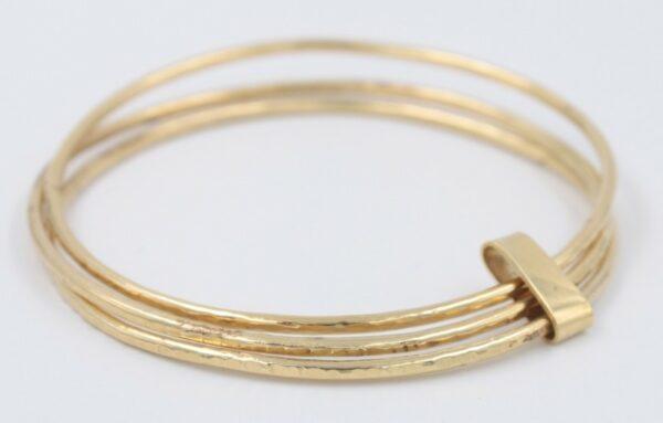 Bracelet triple Jonc en plaqué or Fabrication artisanale dans le vieux lyon