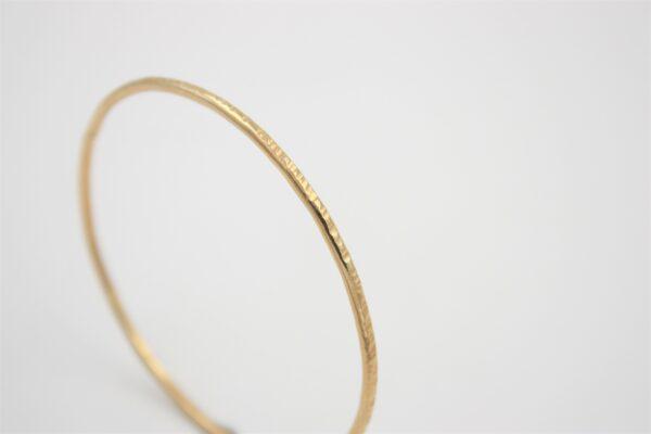 Bracelet Jonc plaqué or martelé droit