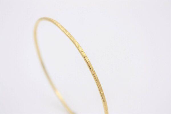 Bracelet Jonc plaqué or seul ciselé feuille
